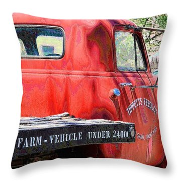 Tippet's Feed Lot Truck Throw Pillow