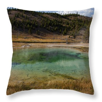 Tire Pool At The Fairy Falls Trailhead In Yellowstone Throw Pillow