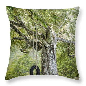 Tire Swing Hanging Off A White Birch Throw Pillow