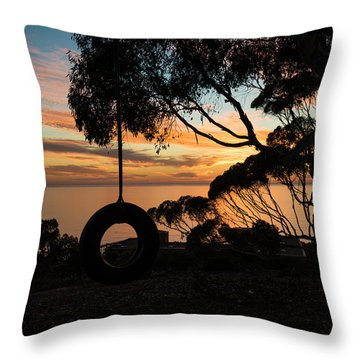 Tire Swing Sunset Throw Pillow