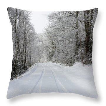 Tire Tracks In Fresh Snow Throw Pillow