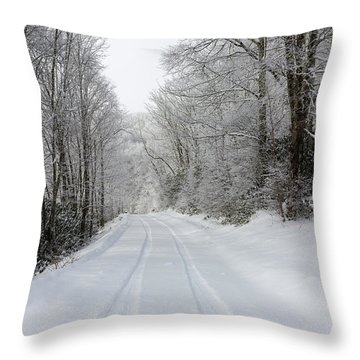 Tire Tracks In Fresh Snow Throw Pillow