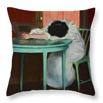 Throw Pillow featuring the painting Tired by Ramon Casas
