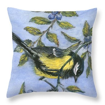 Tit In Blackthorn And Sloe Throw Pillow