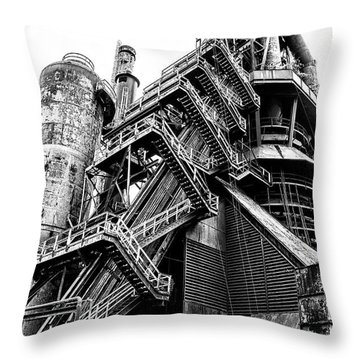 Titan Of Industry - Bethlehem Steel Mill In Black And White Throw Pillow by Bill Cannon