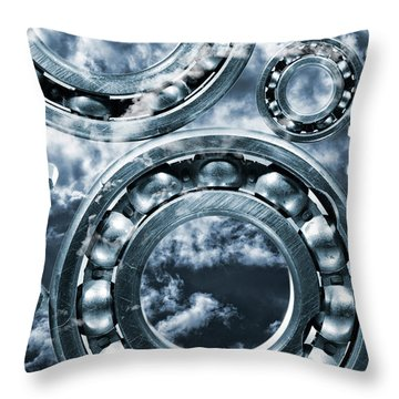 Titanium Gears Against Storm Clouds Throw Pillow