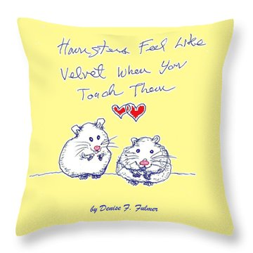 Throw Pillow featuring the drawing Title Page For Hamster Book by Denise Fulmer