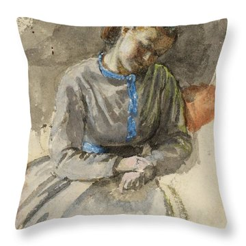 Title Study Of A Woman Throw Pillow