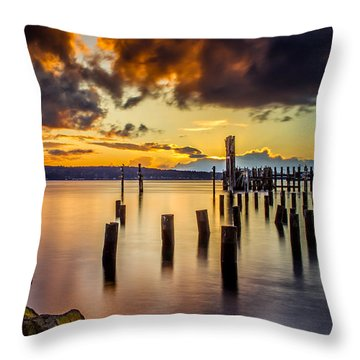 Titlow Beach Sunset Throw Pillow