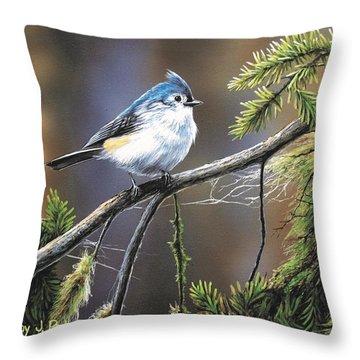 Titmouse Throw Pillow