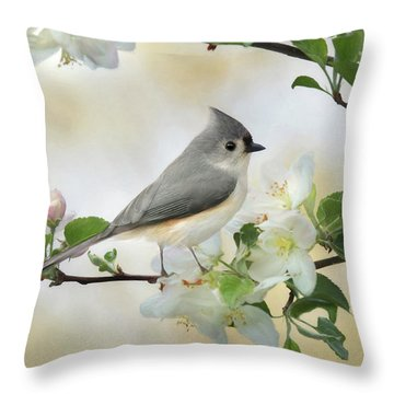 Throw Pillow featuring the mixed media Titmouse In Blossoms 1 by Lori Deiter