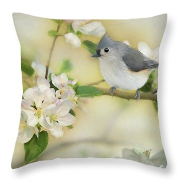 Throw Pillow featuring the mixed media Titmouse In Blossoms 2 by Lori Deiter