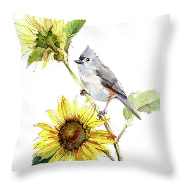 Titmouse With Sunflower Throw Pillow