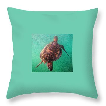 Throw Pillow featuring the digital art Tito The Turtle by Erika Swartzkopf