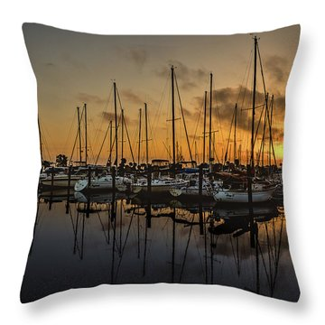 Titusville Marina Throw Pillow