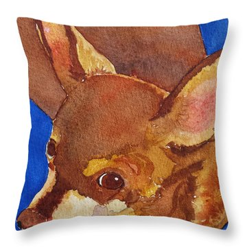 Throw Pillow featuring the painting Tivo by Judy Mercer