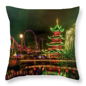 Tivoli Gardens In Copenhagen By Night  Throw Pillow
