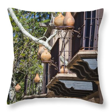 Throw Pillow featuring the photograph Tlaquepaque Balconies by Chris Dutton