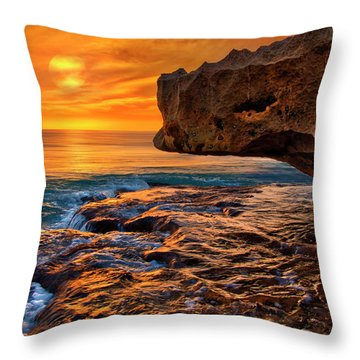 To God Be The Glory - Sunrise Over Ocean Reef Park On Singer Island Florida Throw Pillow