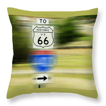 To Historic U.s. Route 66 Throw Pillow by MaryJane Armstrong