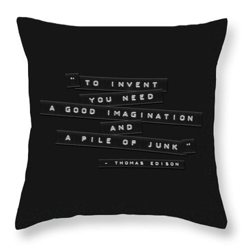 Throw Pillow featuring the photograph To Invent You Need Embossed Labels by Brian Carson
