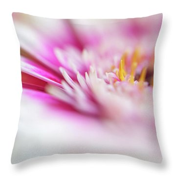 Throw Pillow featuring the photograph To Live In Dream 1. Macro Gerbera by Jenny Rainbow