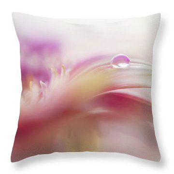 Throw Pillow featuring the photograph To Live In Dream 2. Macro Gerbera by Jenny Rainbow