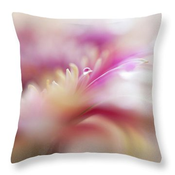 Throw Pillow featuring the photograph To Live In Dream 3. Macro Gerbera by Jenny Rainbow