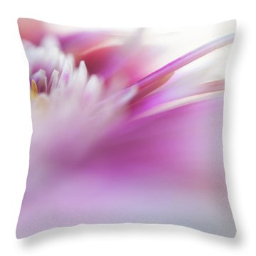Throw Pillow featuring the photograph To Live In Dream. Macro Gerbera by Jenny Rainbow