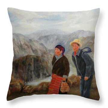 Throw Pillow featuring the painting To Market by Roseann Gilmore