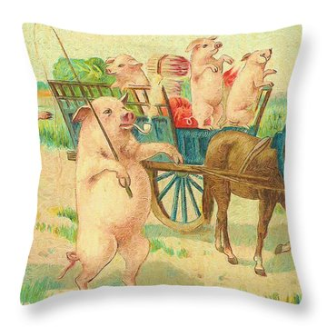 To Market To Market To Buy A Fat Pig 86 - Painting Throw Pillow