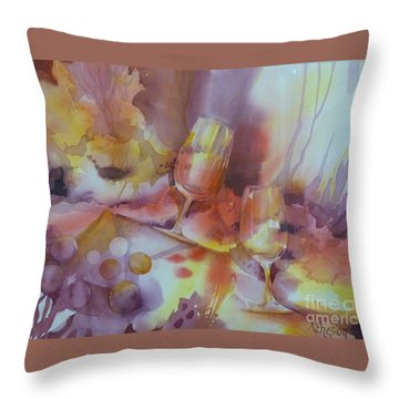 To The Bottom Of The Glass Throw Pillow by Donna Acheson-Juillet