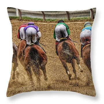 To The Finish Throw Pillow