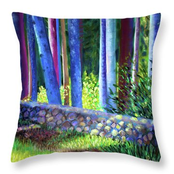 To The Left Of The Entrance To New Pond Farm Throw Pillow