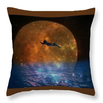 To The Moon And Back Cat Throw Pillow by Kathy Barney