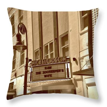 Throw Pillow featuring the photograph To The Movies by Skip Willits
