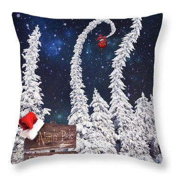 To The North Pole Throw Pillow