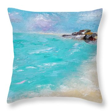Throw Pillow featuring the painting To The Rocks by Judith Rhue