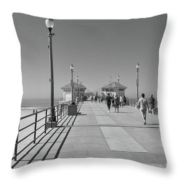 To The Sea On Huntington Beach Pier Throw Pillow