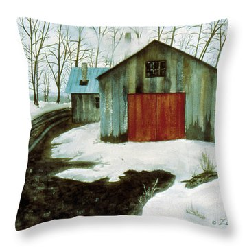 Throw Pillow featuring the painting To The Sugar House by Karen Zuk Rosenblatt