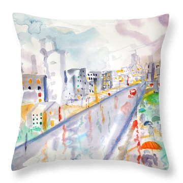 Throw Pillow featuring the painting To The Wet City by Mary Armstrong
