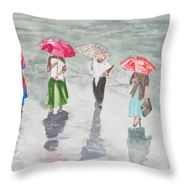 To Work In The Rain Throw Pillow by Betty-Anne McDonald