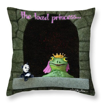Throw Pillow featuring the painting Toad Princess... by Will Bullas