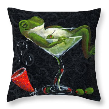 Toadally Under The Influence Throw Pillow by Debbie McCulley