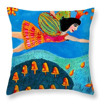 Toadstool Fairy Flies Again Throw Pillow by Sushila Burgess