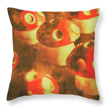 Toadstools From Old Worlds Throw Pillow