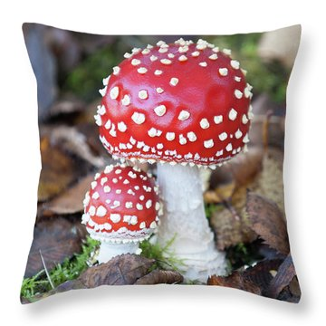 Toadstools In The Woods Vi Throw Pillow