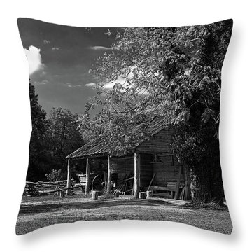 Tobacco Barn - B-w Throw Pillow by Christopher Holmes