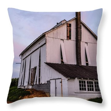 Tobacco Barn At Dusk Throw Pillow