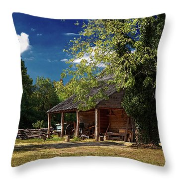Tobacco Barn Throw Pillow by Christopher Holmes